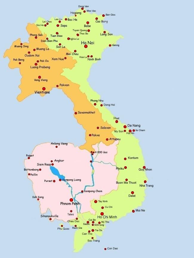 Carte Frontiere Thailande Laos.Carte Vietnam